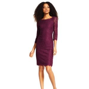 Adrianna Papell | purple lace shift dress